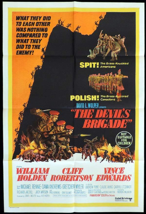 THE DEVIL'S BRIGADE One Sheet Movie Poster William Holden Cliff Robertson