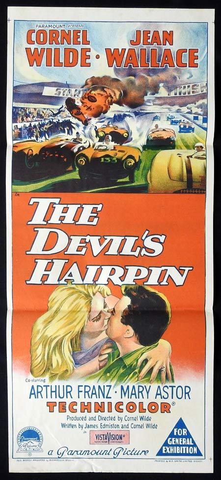 THE DEVIL'S HAIRPIN Original Daybill Movie Poster Cornel Wilde Richardson Studio