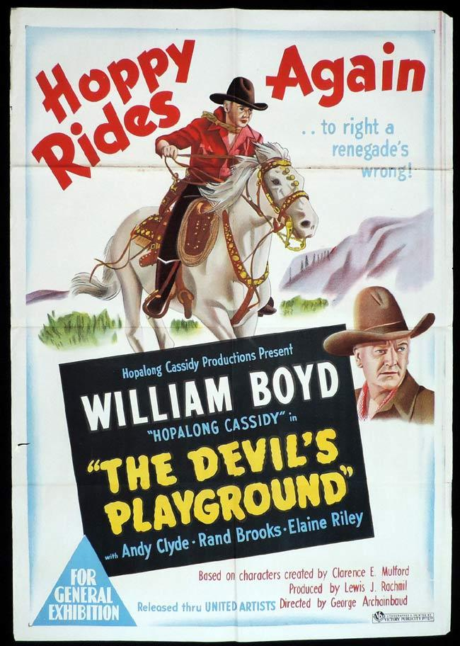 THE DEVIL'S PLAYGROUND Original One sheet Movie Poster WILLIAM BOYD Hopalong Cassidy