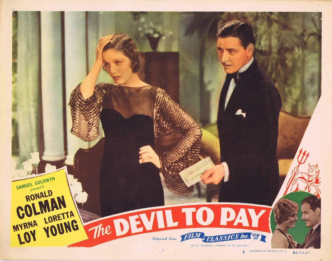 THE DEVIL TO PAY Lobby Card 3 Ronald Colman Loretta Young 1946r