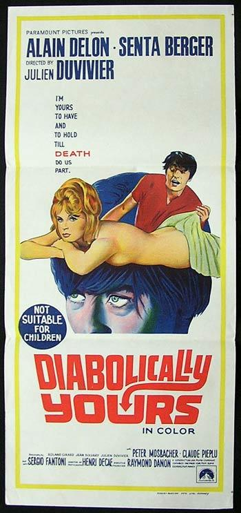 DIABOLICALLY YOURS Movie Poster Alain Delon 1967 Australian daybill