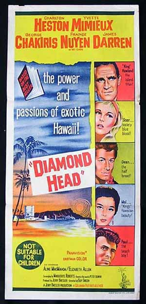 DIAMOND HEAD Original Daybill Movie poster JAMES DARREN Autograph