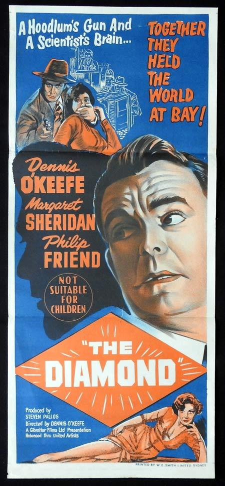 THE DIAMOND Original Daybill Movie Poster Dennis O'Keefe Film Noir