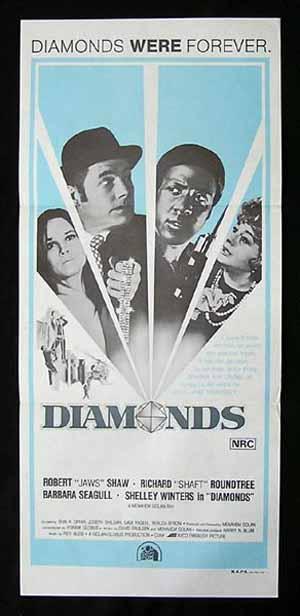 DIAMONDS aka Diamond Shaft Daybill Movie poster Blaxploitation Robert Shaw Richard Roundtree