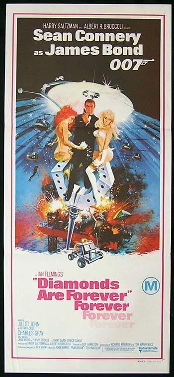 DIAMONDS ARE FOREVER Original Daybill Movie Poster 1971 James Bond