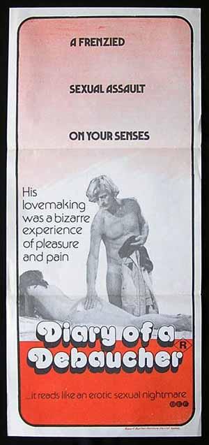 DIARY OF A DEBAUCHER Sexploitation daybill poster RUTGER HAUER