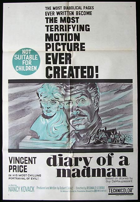 DIARY OF A MADMAN One sheet Movie poster Vincent Price Horror