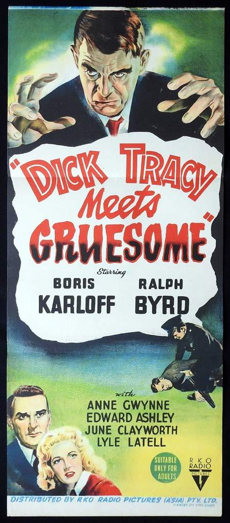 DICK TRACY MEETS GRUESOME Original Daybill Movie Poster Boris Karloff Ralph Byrd Anne Gwynne