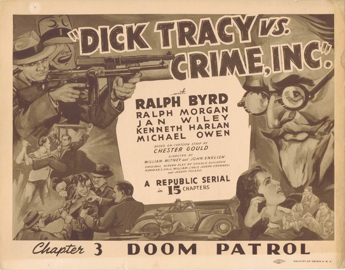 DICK TRACY VS CRIME INC Lobby Card Chapter 3 Ralph Byrd Republic Serial