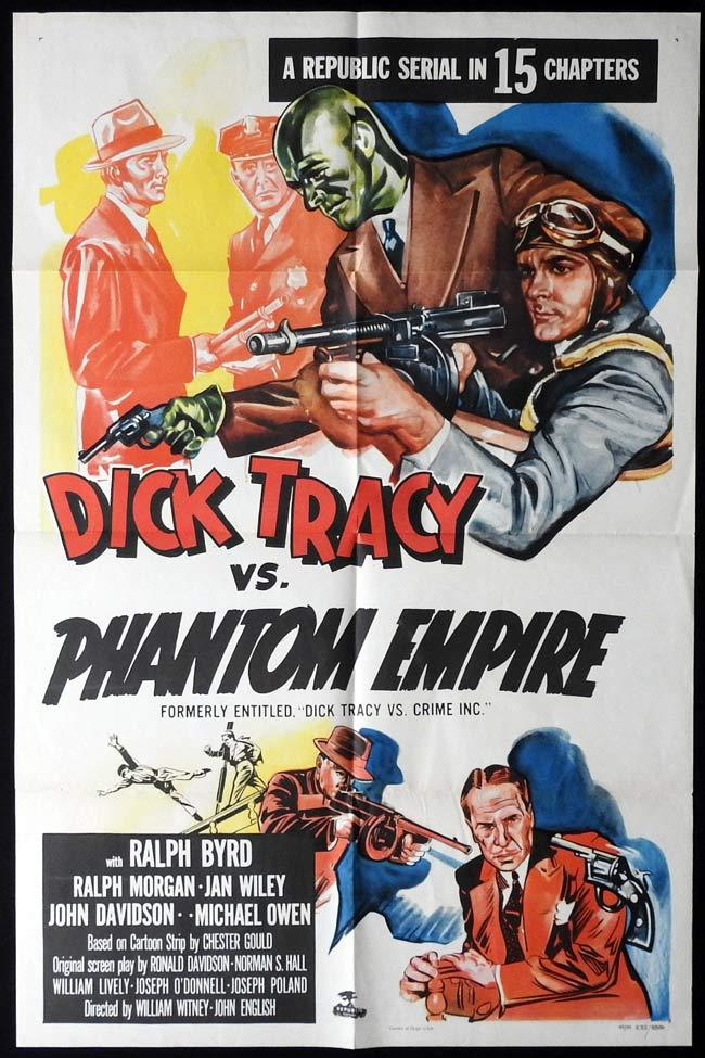 DICK TRACY VS PHANTOM EMPIRE Original One sheet Movie Poster 1952r Republic Serial