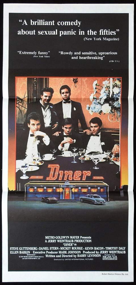 DINER Original Daybill Movie Poster Steve Guttenberg Mickey Rourke Kevin Bacon