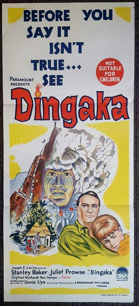DINGAKA Original Daybill Movie Poster Ken Gampu Stanley Baker Juliet Prowse