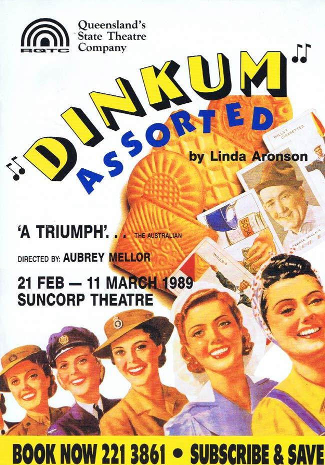 DINKUM ASSORTED Queensland Theatre Company Flyer / Booking Form 1989