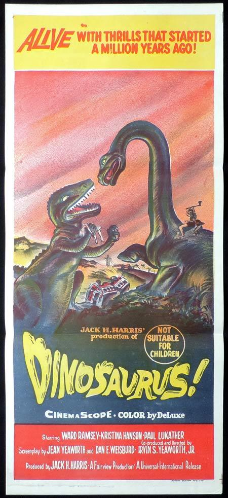 DINOSAURUS Daybill Movie poster PREHISTORIC DINOSAURS Sci Fi