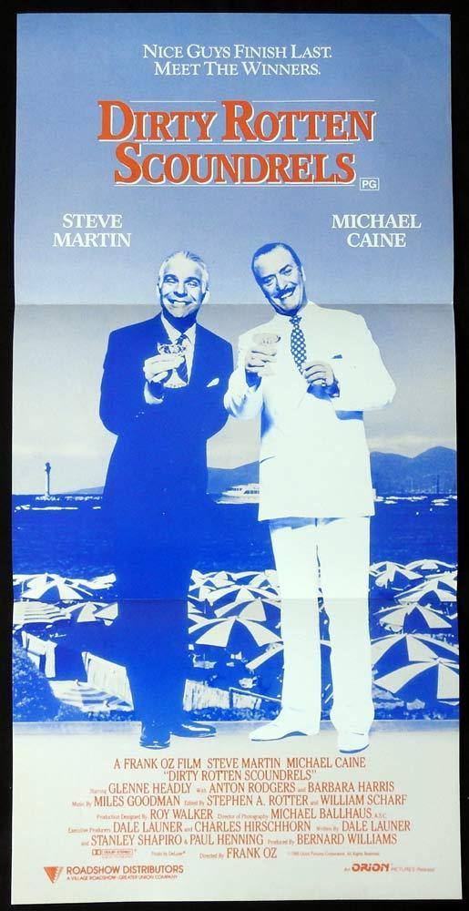 DIRTY ROTTEN SCOUNDRELS Original Daybill Movie Poster Michael Caine Steve Martin