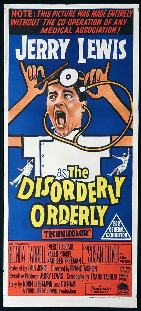 THE DISORDERLY ORDERLY Original Daybill Movie Poster Jerry Lewis