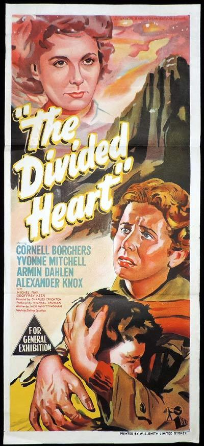 THE DIVIDED HEART Original Daybill Movie Poster David Niven