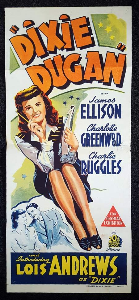 DIXIE DUGAN Daybill Movie poster Lois Andrews Charlie Ruggles