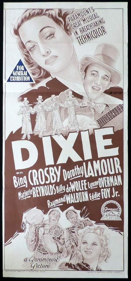 DIXIE Original 1940s Daybill Movie Poster BING CROSBY Dorothy Lamour Richardson Studio