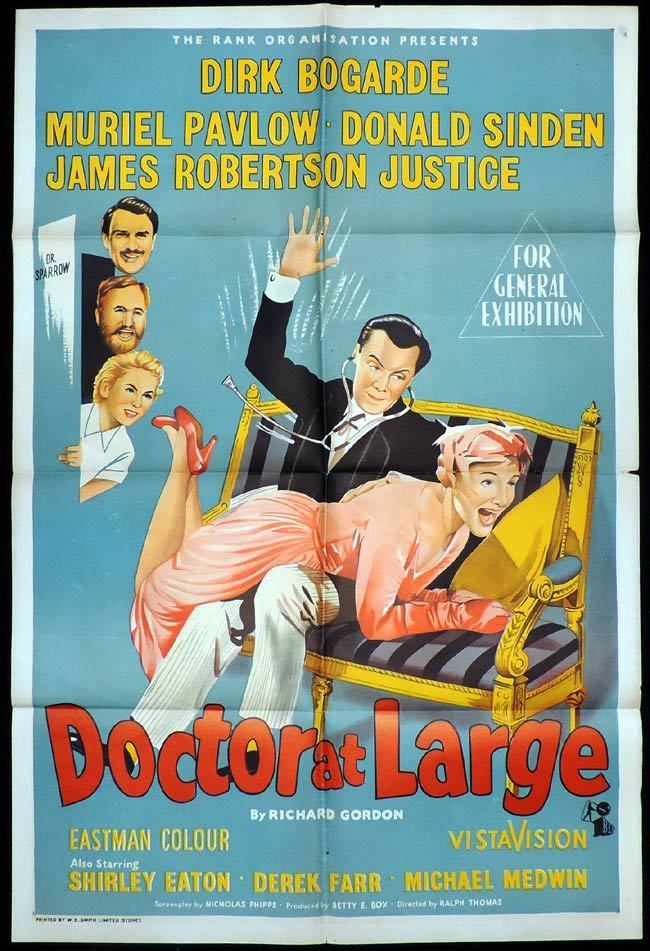 DOCTOR AT LARGE One sheet Movie poster Dirk Bogarde