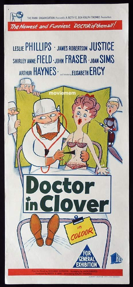 DOCTOR IN CLOVER Original Daybill Movie Poster Leslie Phillips James Robertson Justice