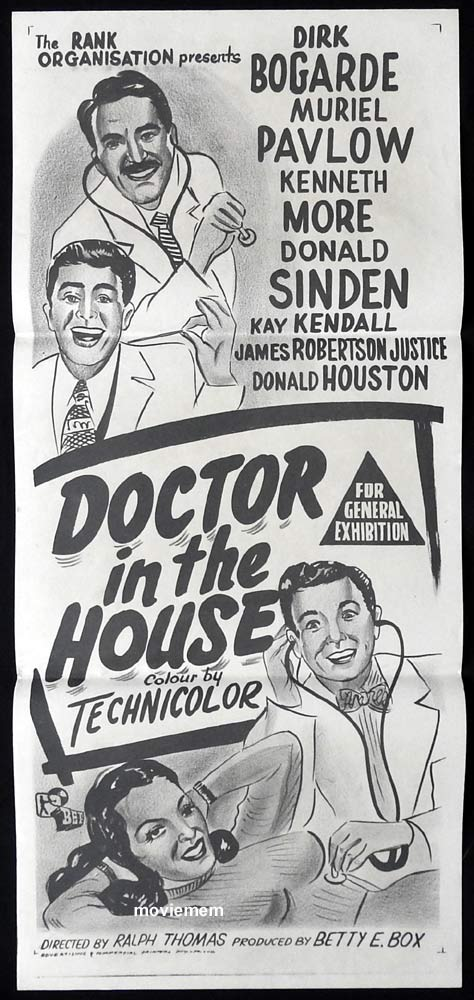 DOCTOR IN THE HOUSE Original 60s Daybill Movie Poster  Dirk Bogarde Muriel Pavlov