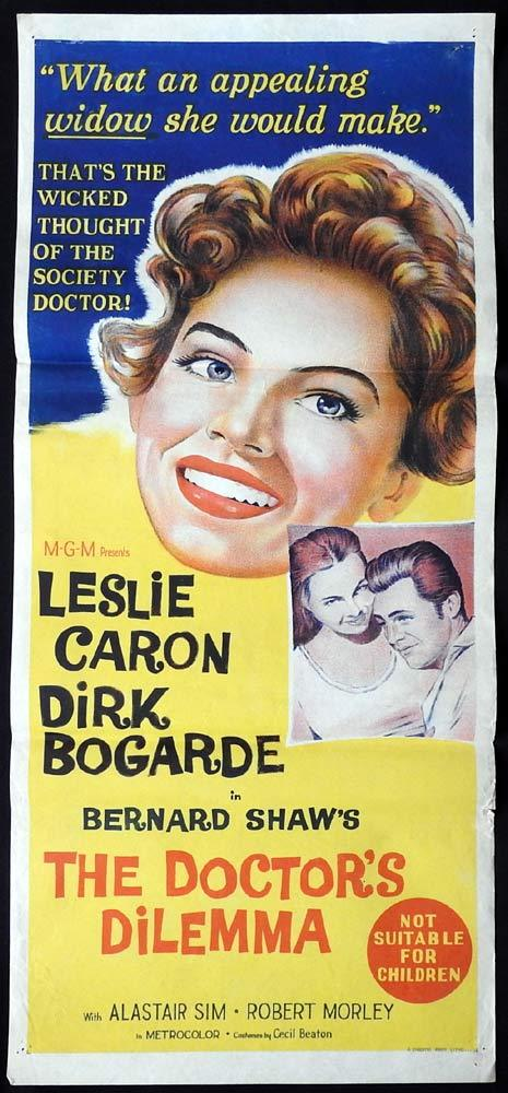 THE DOCTORS DILEMMA Original Daybill Movie Poster Dirk Bogarde