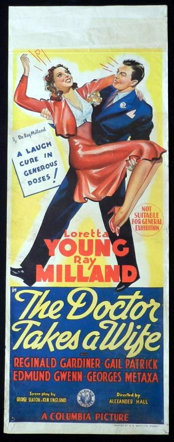 DOCTOR TAKES A WIFE Movie Poster 1940 Ray Milland Loretta Young RARE Long daybill