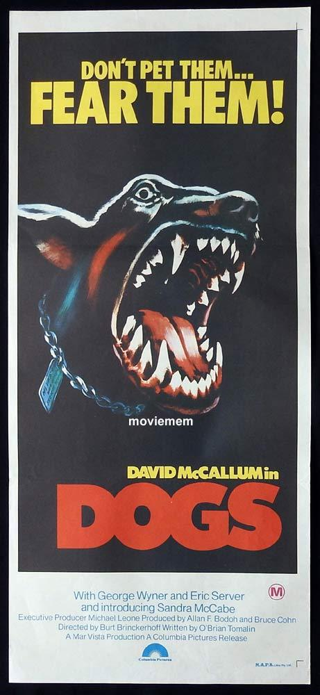 DOGS Original Daybill Movie Poster Doberman Art David McCallum