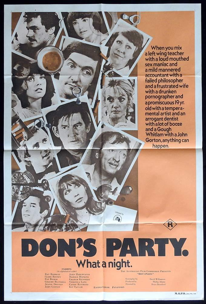 DON'S PARTY Original One sheet Movie poster GRAHAM KENNEDY John Hargreaves