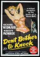 DON'T BOTHER TO KNOCK Original One sheet Movie Poster MARILYN MONROE Richard Widmark