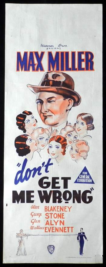 DON'T GET ME WRONG Long Daybill Movie Poster 1939 Max Miller