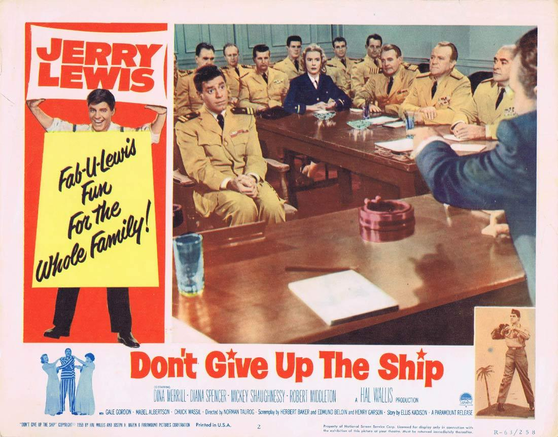 DONT GIVE UP THE SHIP Lobby Card 2 Jerry Lewis Dina Merrill Diana Spencer 1963 release