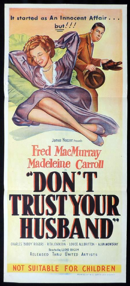DON'T TRUST YOUR HUSBAND Original Daybill Movie Poster Madeleine Carroll Fred MacMurray