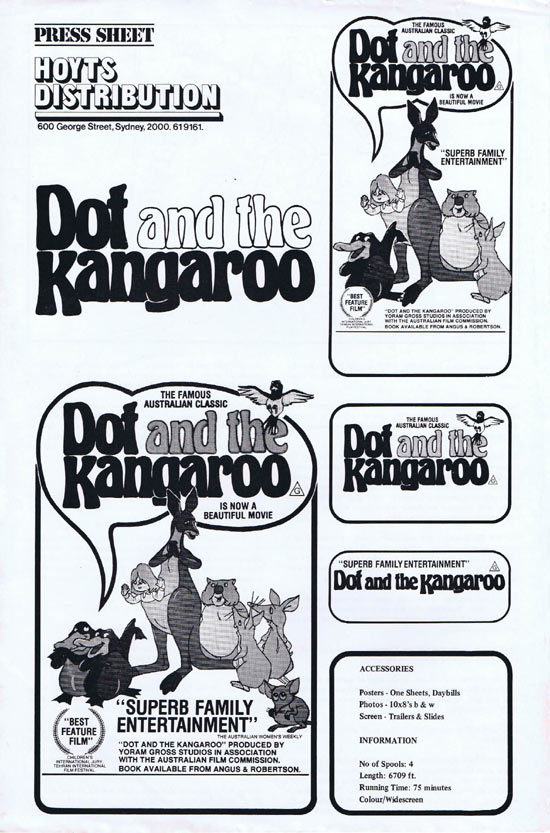 Dot and the Kangaroo, Yoram Gross, Robyn Moore, Ross Higgins, Spike Milligan, Lola Brooks, Richard Meikle, Peter Gwynne, Ron Haddrick, June Salter, Barbara Frawley, Joan Bruce