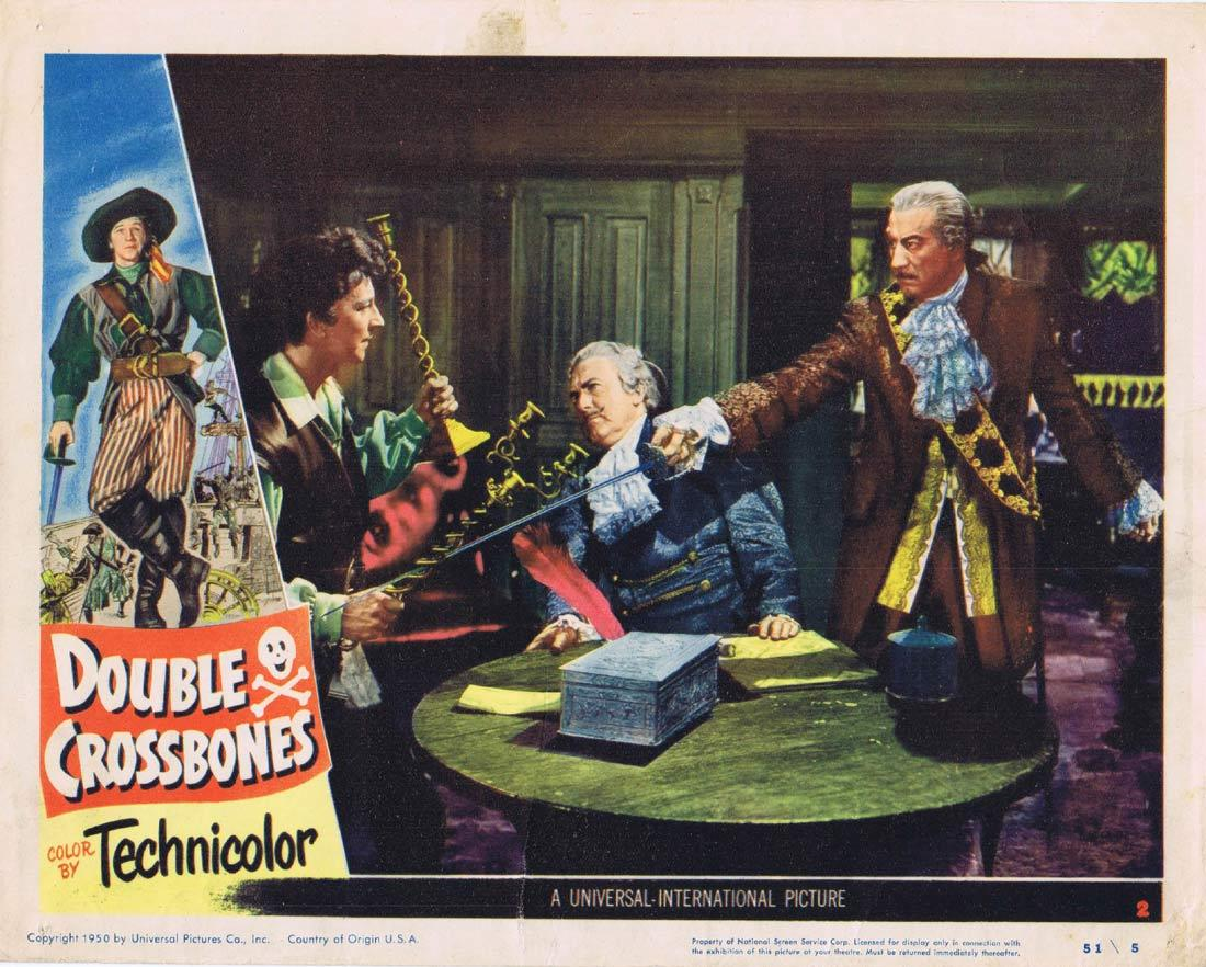 DOUBLE CROSSBONES Original Lobby Card 2 Donald O'Connor Helena Carter.