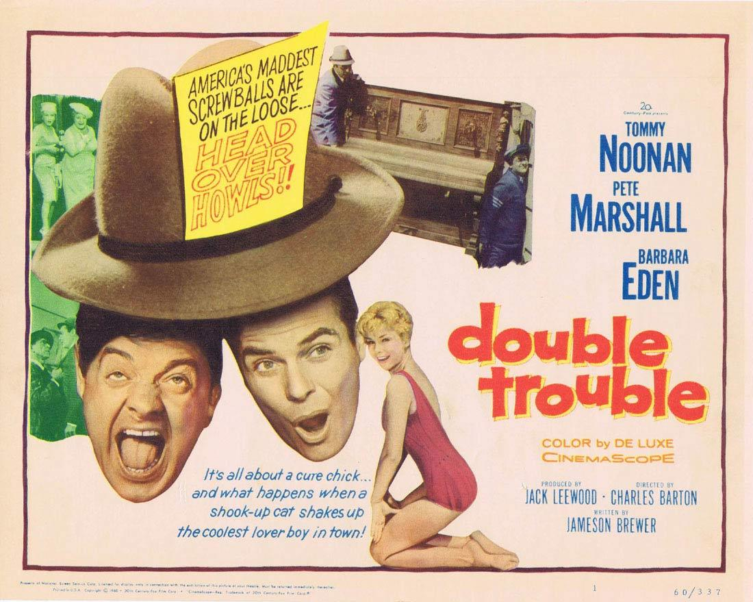 DOUBLE TROUBLE Title Lobby Card Noonan and Marshall Barbara Eden TC