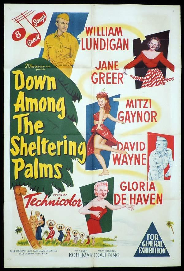 DOWN AMONG THE SHELTERING PALMS One Sheet Movie Poster Mitzi Gaynor