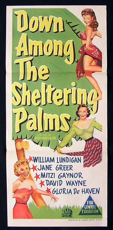 DOWN AMONG THE SHELTERING PALMS Daybill Movie Poster Mitzi Gaynor
