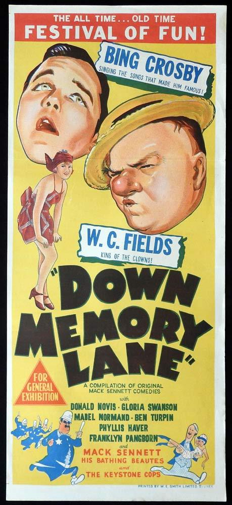 DOWN MEMORY LANE Daybill Movie Poster W.C. Fields Bing Crosby