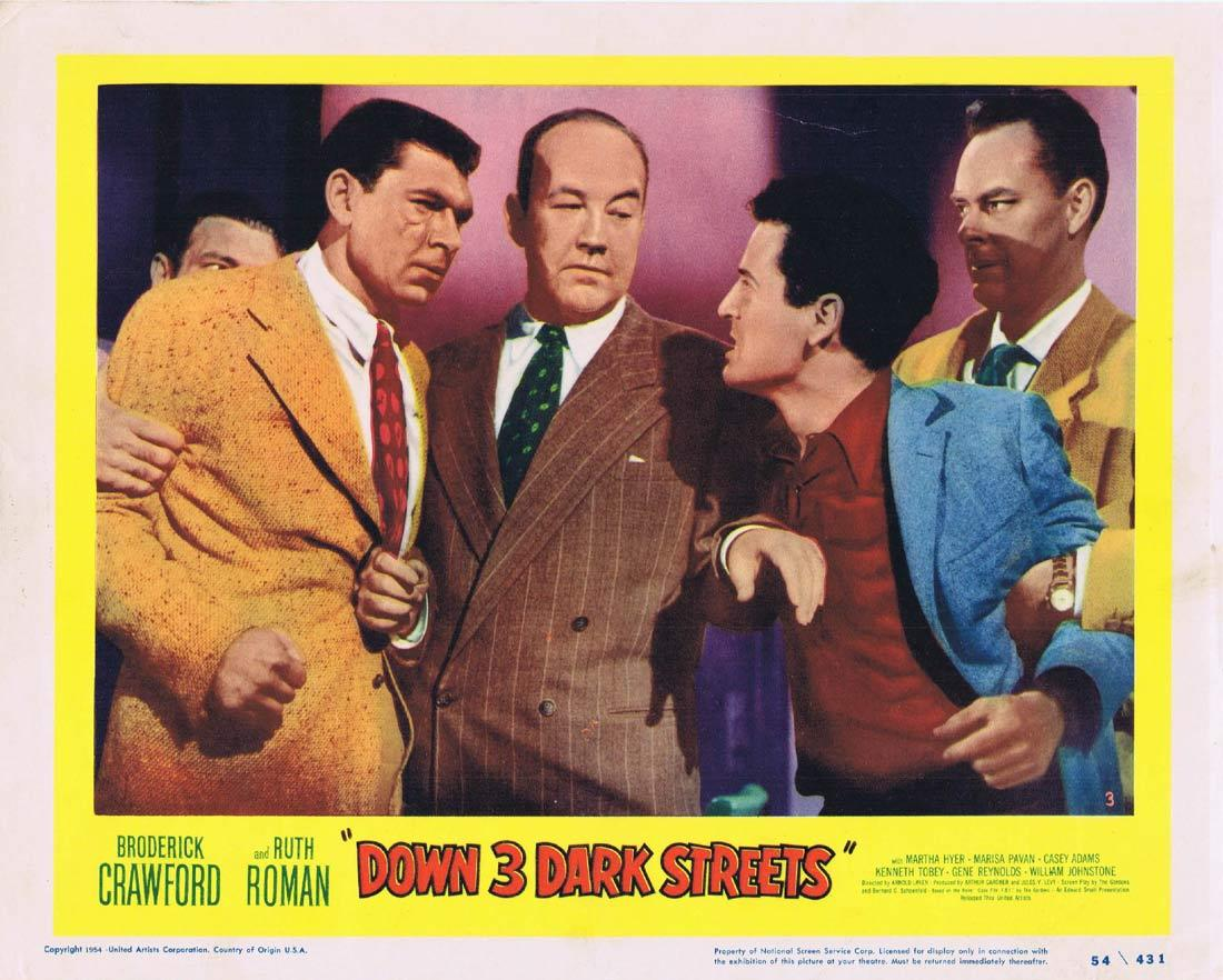 DOWN THREE DARK STREETS Lobby Card 3 Broderick Crawford Ruth Roman Martha Hyer