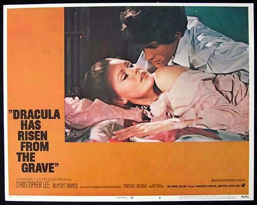 DRACULA HAS RISEN FROM THE GRAVE '69 Christopher Lee HAMMER HORROR Original US Lobby Card 8