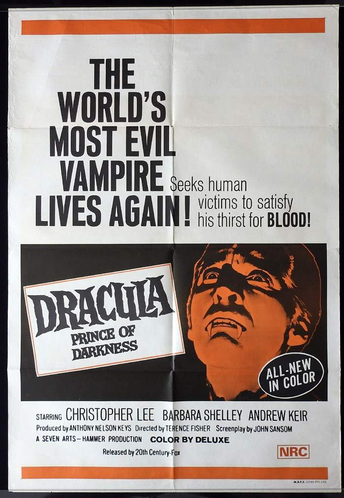 DRACULA PRINCE OF DARKNESS One sheet Movie poster Hammer Horror Christopher Lee