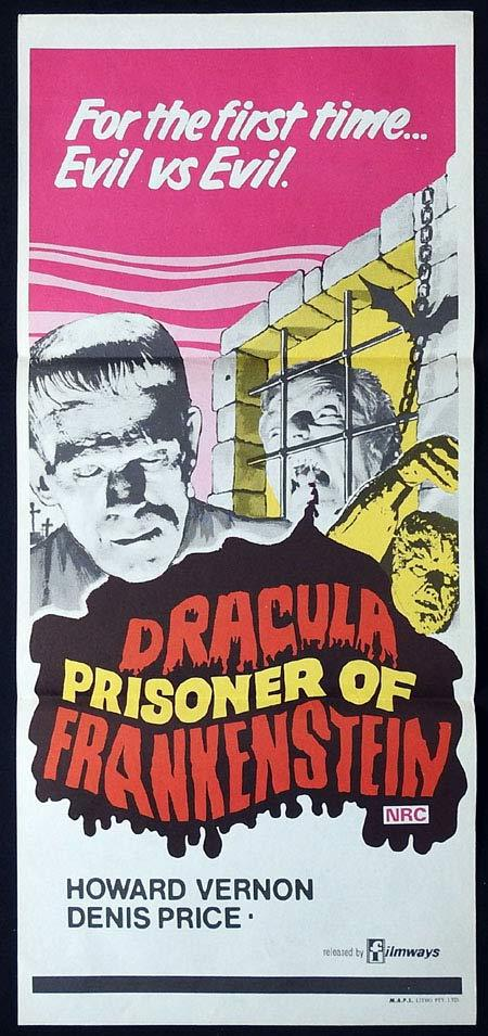 DRACULA PRISONER OF FRANKENSTEIN Original Daybill Movie poster Dennis Price Howard Vernon Horror