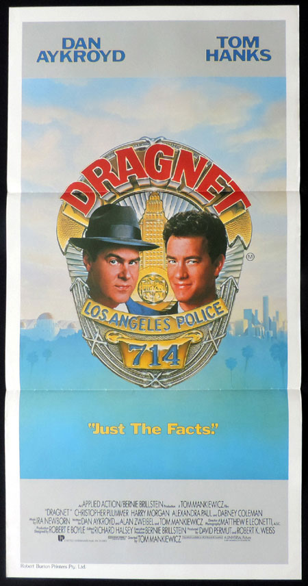 DRAGNET Original Daybill Movie poster Tom Hanks Dan Aykroyd