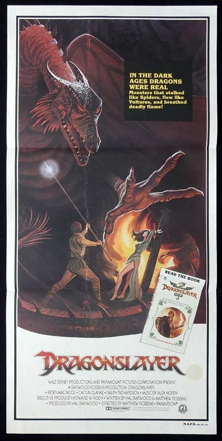 DRAGONSLAYER Original daybill Movie Poster Peter MacNicol Caitlin Clarke Ralph Richardson
