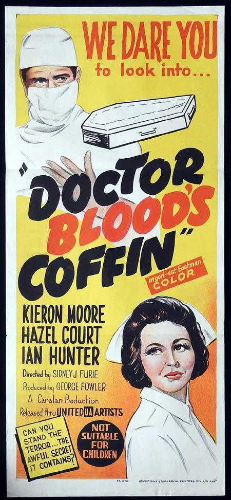 DOCTOR BLOOD'S COFFIN Original Daybill Movie poster Kieron Moore Hazel Court