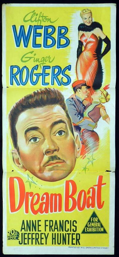 DREAMBOAT Daybill Movie Poster Ginger Rogers Clifton Webb