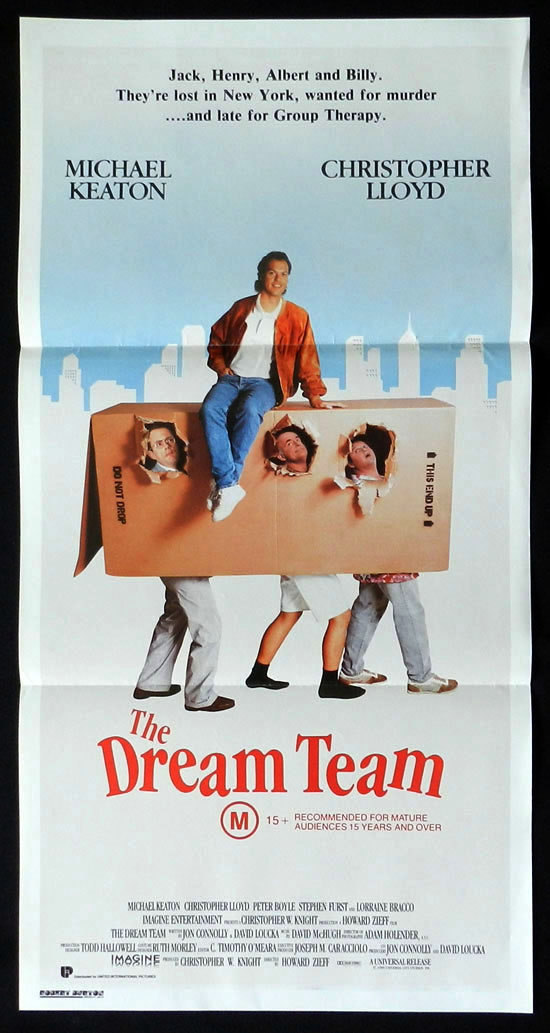 THE DREAM TEAM Daybill Movie poster Christopher Lloyd Michael Keaton