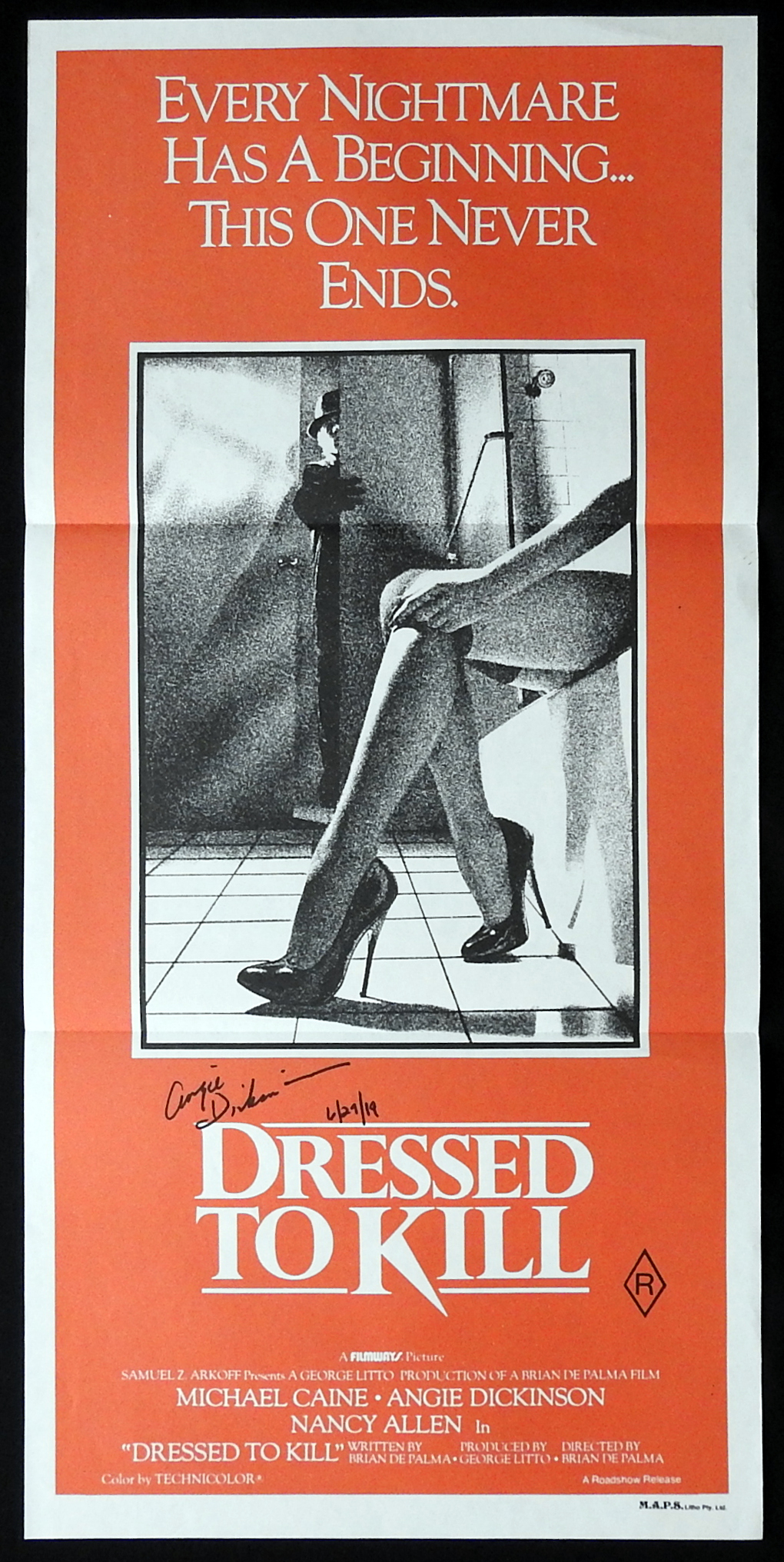 DRESSED TO KILL Original Daybill Movie Poster ANGIE DICKINSON Autograph
